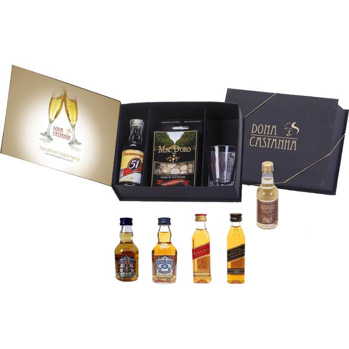 Kit Bebida 50ml + Caixa Macadâmia Salgada 50g e contra capa adesivada