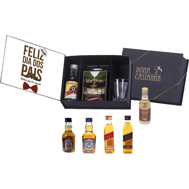 Monte seu Kit Dia dos Pais Bebida 50ml + Caixa Macadâmia Sabores Gourmet 100g + Copo dose