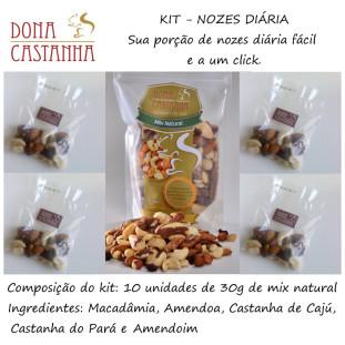 Kit Porção Diária de Nozes e Castanhas Natural 300g - Premium (Sem Uva Passa)