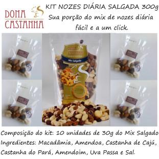 Kit Porção Diária de Nozes e Castanhas Salgada 300g - Premium (Sem Uva Passa)